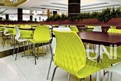 Kantinenstühle uni mit Kunststoffschale, bunt praktisch, innen und außen