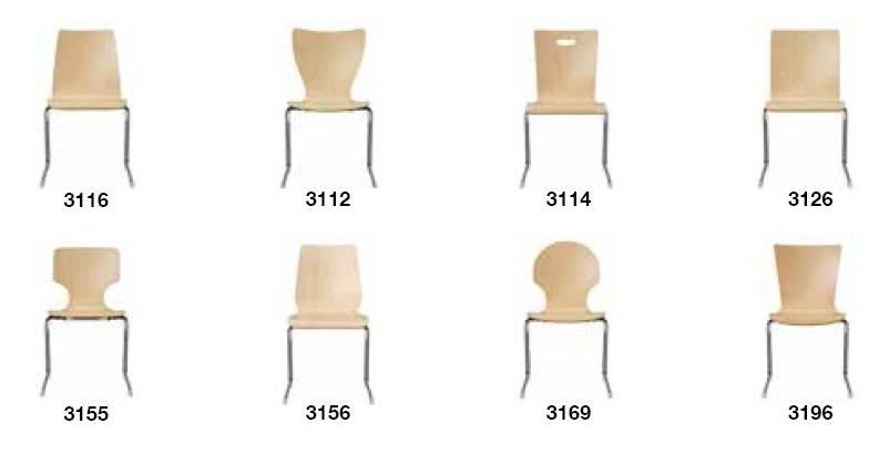 Kantinenstuehle C-Form-Gestell auf Tisch einhängbar, Buche Holzsitzschale