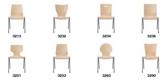 Kantinenstühle, Holzschale Parabelgestell, Stahlrohrgestell verchromt, Stapelstuhl