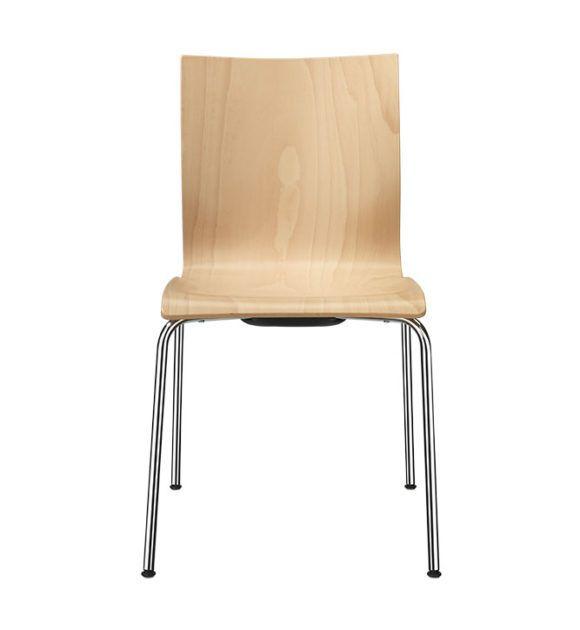 Kantinenstühle, Holzsitzschale ergonomisch, Stahlrohrgestell Vierfuß, Beiztöne