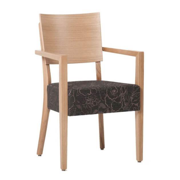 Kantinenstühle Milia Massivholz, modern, wohnlich, mit Armlehnen