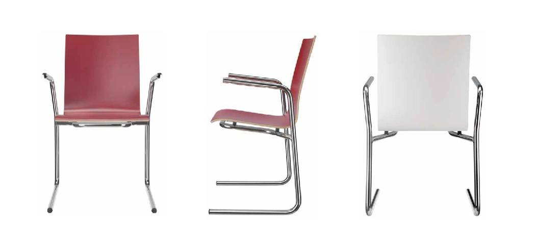 Kantinenstuehle rot weiss C-Form Stahlgestell verchromt Holzsitzschale leicht stabil