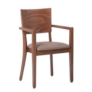 Kantinenstühle Holzstuhl Armlehnen Luxor Polster in Leder oder Stoff