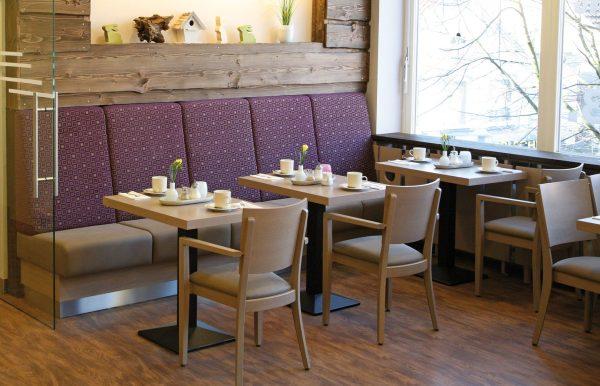 Kantinenstühle Holzstuhl Armlehnen mit Sitzbank Sitzpolster
