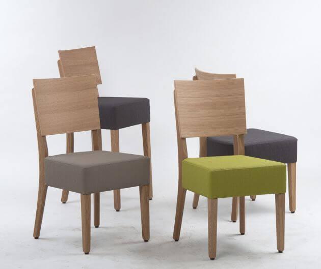 Kantinenstühle Milia, Holzstuhl, Gestell Massivholz