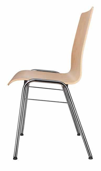 Kantinenstühle mit Holzschale und Stahlgestell