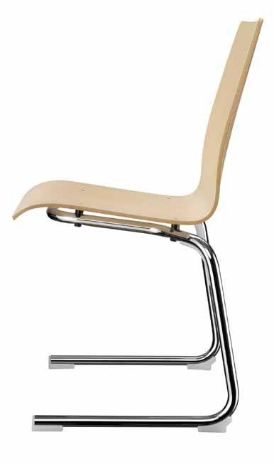 Kantinenstühle mit Holzschale und Stahlgestell ungepolstert
