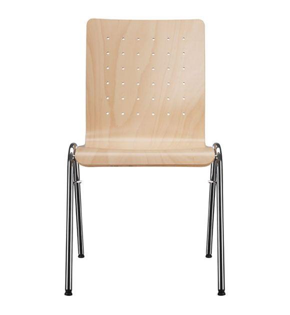 Kantinenstühle Holzschale, Parabelgestell-P, Lochbohrung Rückenlehne