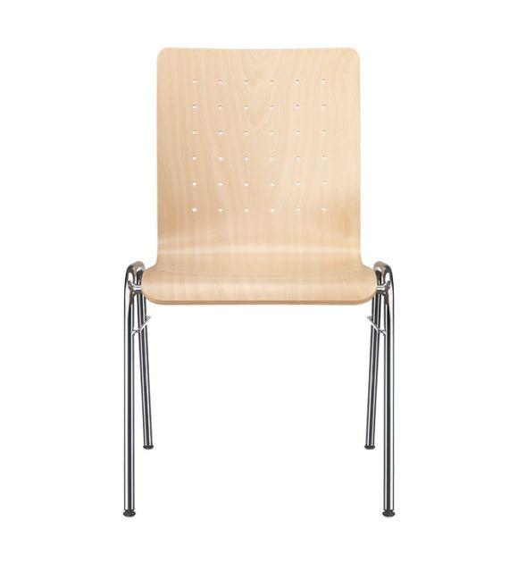 Stühle mit Holzschale und Stahlgestell für die Kantine