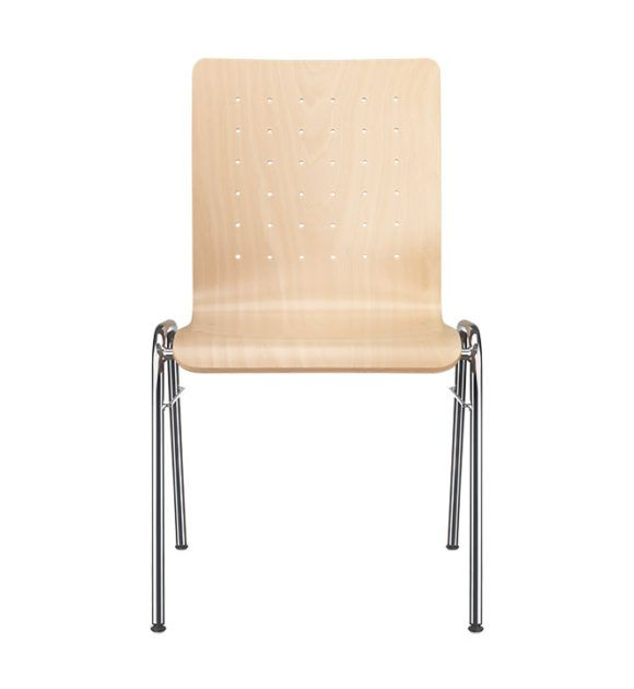 Kantinenstühle mit Holzsitzschale