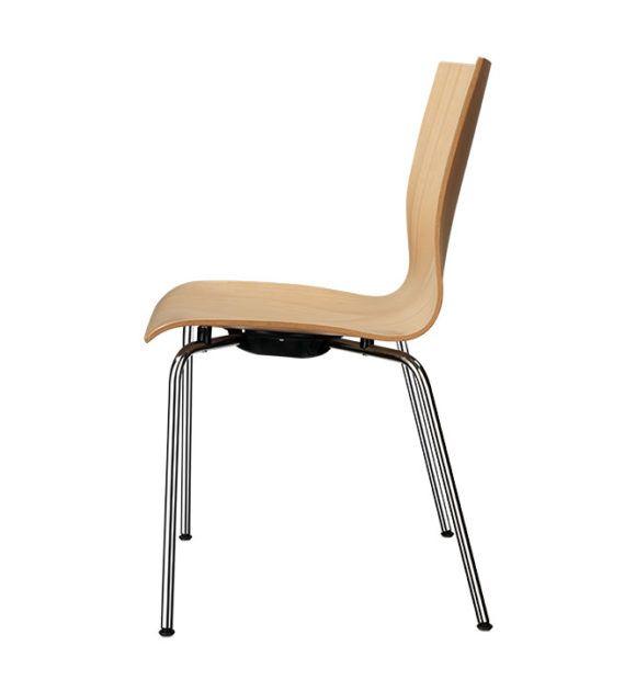 Kantinenstühle mit Holzsitzschale, ergonomisch geformt, Stahlrohrgestell Vierfuss