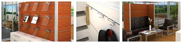 Zubehör für Multiwa Raumteiler, Garderobenhaken, Prospekthalter, Kantineneinrichtung