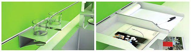 Ablagen für Raumteiler multiva, Multifunktionsschienen, Glashalter, Ablageboard