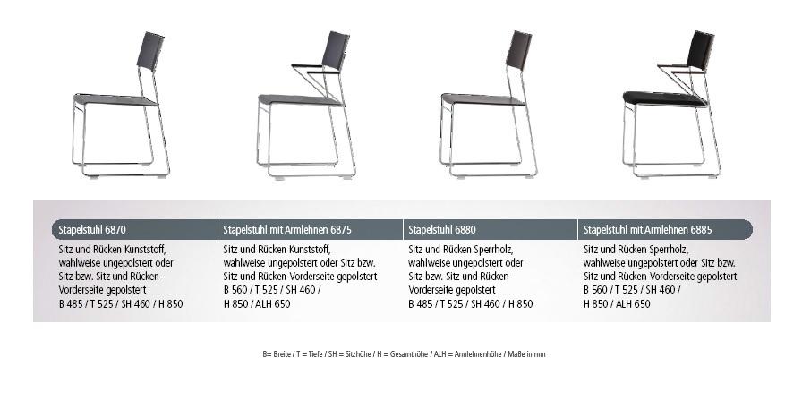 Mehrzweckstuhl outline Produktübersicht Varianten Stapelstuhl Reihenstuhl