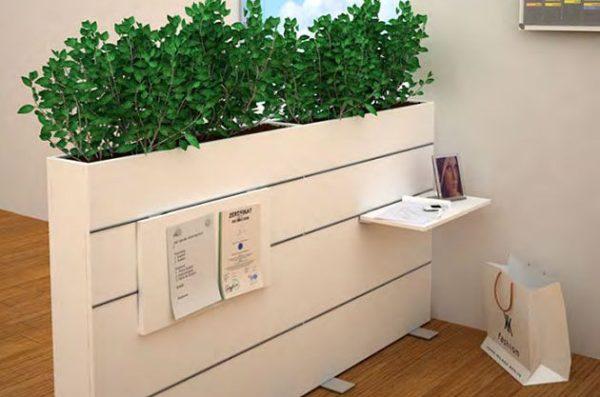 Raumteiler für die Kantineneinrichtung mit Pflanzen Bepflanzung Sichtschutz Kantine