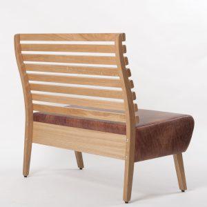 Rückansicht Stollenbank Kantinenbänke Kantineneinrichtung Holz Polsterung Lounge Kantine