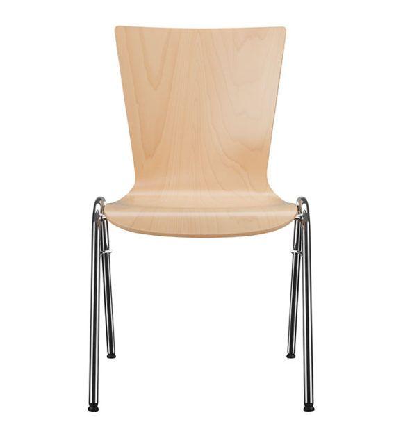 Kantinenstühle Holzschale, Stapelstuhl, Parabelgestell-P