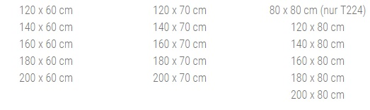 Tischgrößen Kantinenklapptisch T221 und T224