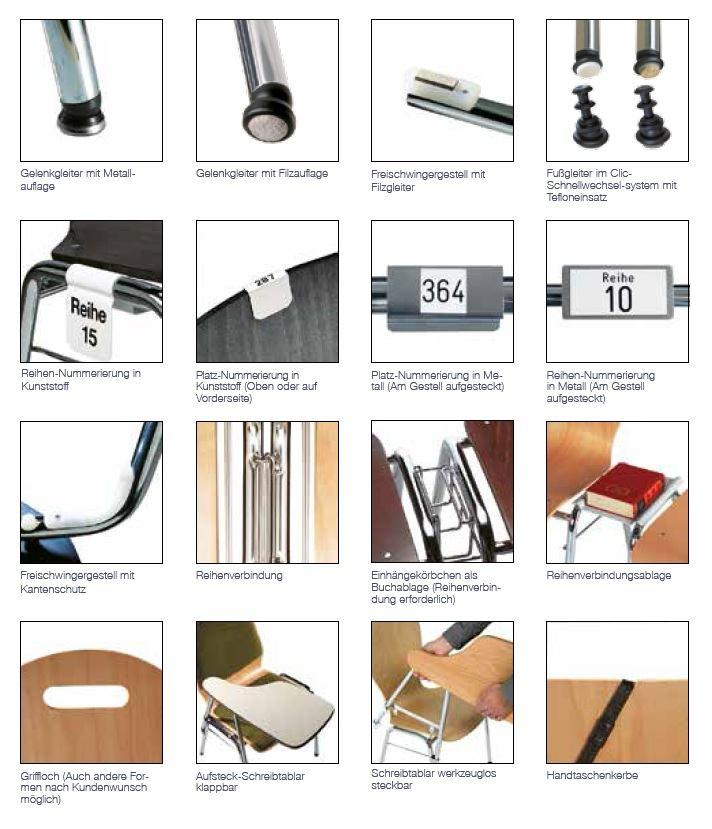 Kantinenstühle, Übersicht Zubehör Holzschalenstühle, Gelenkgleiter, Reihenverbindung, Schreibtablar