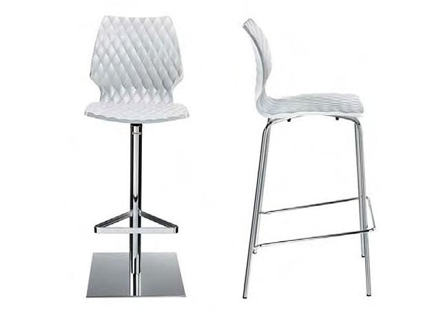 Kantinenhocker uni Kunststoffschalensitz mit Vierfussgestell oder Standsaeule