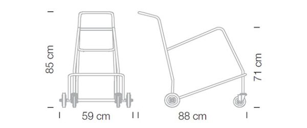 Abmessungen Stapelwagen uni Kantinenstühle Kunststoffstapelstuhl Aussenbereich Innenbereich