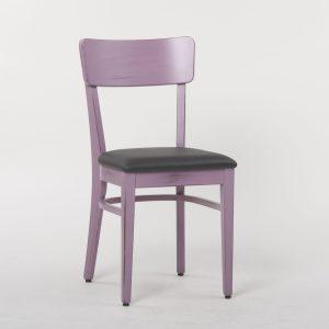 Bistrostuhl aus Holz lila lackiert ergonomische Sitzmulde Polstervlies Leder Kunstleder Stoff