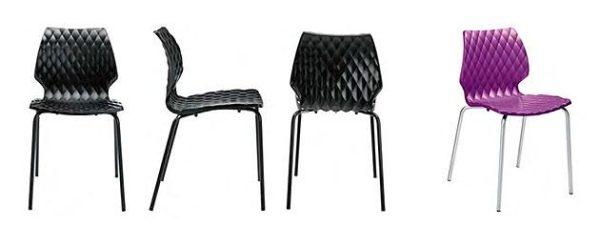 Kantinenstühle Kunststoffschale schwarz violett