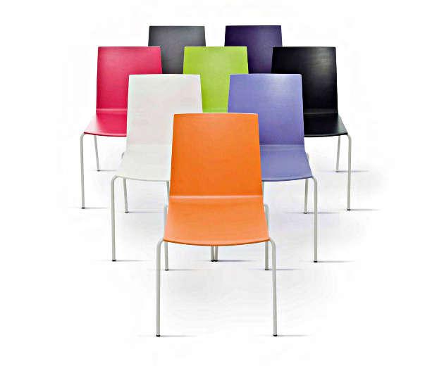 Kantinenstuhl update bunt farbig Stapelstuhl stapelbar Kantinenausstattung ergonomisch