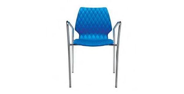 Kantinenstuhl uni mit Armlehnen Sitzschale blau Polypropylen Rautenmuster