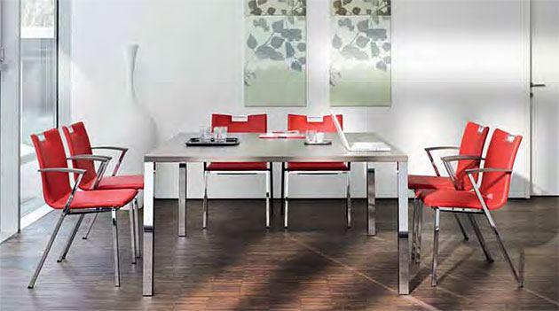 Kantinentische client 140x140 stapelbar flexible Technik vielseitig Besprechungstische stabil