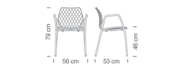 Masse Kantinenstühle Kunststoffschale uni Armlehnen Vierfussgestell Abmessungen