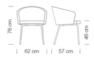 Kantinensessel Kicca Varianten Massangaben 1