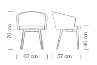 Kantinensessel Kicca Varianten Massangaben