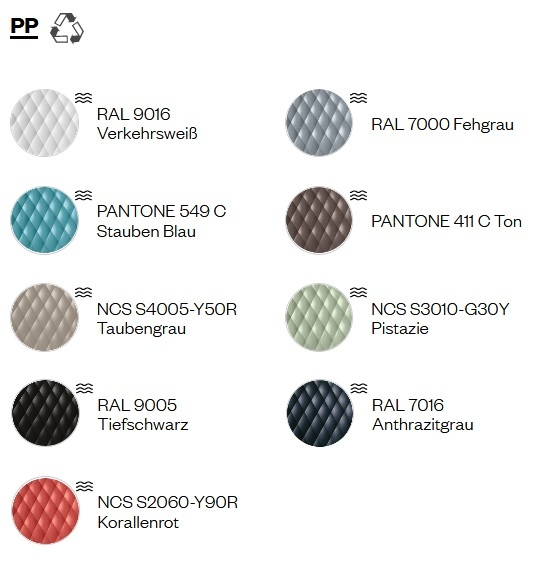 Farben Kunststoff Sitzschale Kantinenstuhl uni-ka vielseitig design wabenfoermig