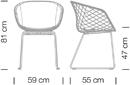 Varianten Massangaben Schalensessel uni-ka Kantinensessel ergonomisch Griffloch 4
