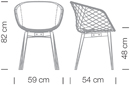 Varianten Massangaben Schalensessel uni-ka Kantinensessel ergonomisch